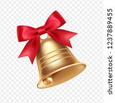golden metal bell with red bow... | Shutterstock .eps vector #1237889455