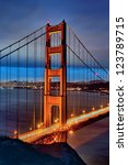 famous golden gate bridge and... | Shutterstock . vector #123789715