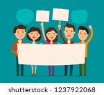 crowd of people protesting.... | Shutterstock .eps vector #1237922068