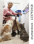 Stock photo full length of an african american woman with pet dogs in bathroom while washing clothes 123792418