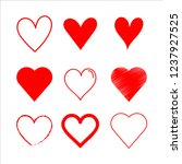 vector set heart red  outline... | Shutterstock .eps vector #1237927525