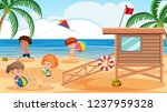 kids playing at the beach... | Shutterstock .eps vector #1237959328