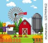 a flat farmland landscape... | Shutterstock .eps vector #1237959412
