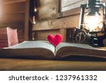 Open Bible And Red Heart In The ...