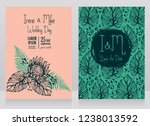 two wedding cards with tropical ... | Shutterstock .eps vector #1238013592