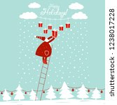 funny santa claus up the stairs ... | Shutterstock .eps vector #1238017228