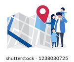 characters of family with a map ... | Shutterstock .eps vector #1238030725