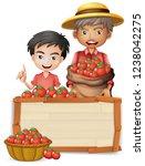 farmer with tomato wooden... | Shutterstock .eps vector #1238042275