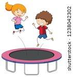 children jumping on trampoline... | Shutterstock .eps vector #1238042302