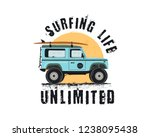 vintage surf emblem with retro... | Shutterstock . vector #1238095438