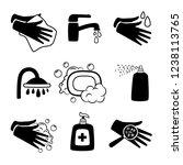 hygiene black icons. antiseptic ... | Shutterstock .eps vector #1238113765