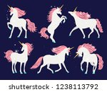 white unicorn with pink mane.... | Shutterstock .eps vector #1238113792