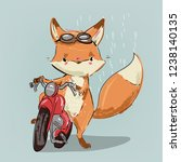 cute vector fox on motobike