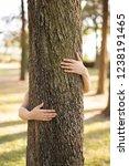 closeup hands of woman hugging... | Shutterstock . vector #1238191465