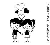 boy and girl love hearts cartoon | Shutterstock .eps vector #1238210842