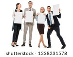 cheerful businesspeople holding ... | Shutterstock . vector #1238231578