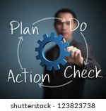 business man pointing at plan   ... | Shutterstock . vector #123823738