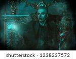 a vampire man is in a dark room.... | Shutterstock . vector #1238237572