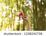 paper house in hand outdoor... | Shutterstock . vector #1238242738