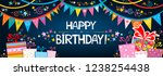 happy birthday banner. greeting ... | Shutterstock .eps vector #1238254438