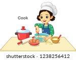little girl cooking vector...   Shutterstock .eps vector #1238256412