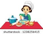 cute little girl cooking vector ... | Shutterstock .eps vector #1238256415