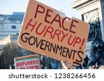 London, United Kingdom, November 17th 2018:- A peace activist at the Stand Up To Racism march through central London from the BBC to near Downing Street in Whitehall - stock photo