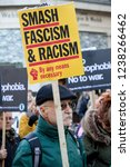 London, United Kingdom, November 17th 2018:- The Stand Up To Racism march through central London from the BBC to near Downing Street in Whitehall - stock photo