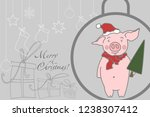 christmas illustration  a pig... | Shutterstock .eps vector #1238307412