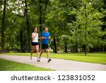 sport couple   young man and... | Shutterstock . vector #123831052