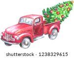 red truck with christmas tree.... | Shutterstock . vector #1238329615