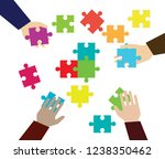hands and pieces of puzzles on... | Shutterstock .eps vector #1238350462