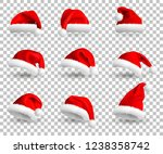 set of red santa claus hats... | Shutterstock . vector #1238358742