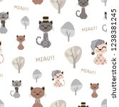 pattern of funny cats with hats....   Shutterstock .eps vector #1238381245