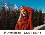 shining blonde standing... | Shutterstock . vector #1238415145