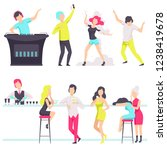 people in fashionable clothes...   Shutterstock .eps vector #1238419678