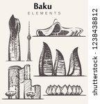 set of hand drawn baku... | Shutterstock .eps vector #1238438812