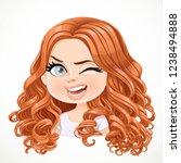 beautiful cheerily winking... | Shutterstock .eps vector #1238494888