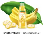 banana juice with leaf and... | Shutterstock .eps vector #1238507812