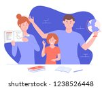 home schooling. parents teach... | Shutterstock .eps vector #1238526448