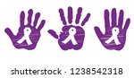 purple ribbon  child's  hand ... | Shutterstock .eps vector #1238542318