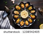cooked mussels. steamed mussels ... | Shutterstock . vector #1238542405