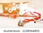 stethoscope and graduate hat... | Shutterstock . vector #1238566852