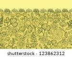 vector green autumn flowers... | Shutterstock .eps vector #123862312