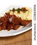 beef stew with mashed potatoes | Shutterstock . vector #123865846
