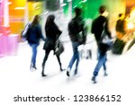 a group of young arriving... | Shutterstock . vector #123866152