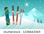 skiing in the mountains. vector ... | Shutterstock .eps vector #1238663365