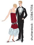 couple on party. flapper girl... | Shutterstock .eps vector #123867556