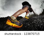 hiker with backpack climbing... | Shutterstock . vector #123870715