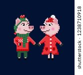 two pixel christmas pigs in... | Shutterstock .eps vector #1238710918